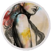 Cleansing Undertones - Zentangle Nude Girl Drawing Round Beach Towel