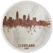 Cleveland Ohio Rust Skyline Round Beach Towel