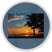 Cleveland Sign Sunrise Round Beach Towel