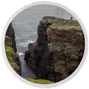 Cliff Vigil At Esha Ness On Shetland Mainland Round Beach Towel