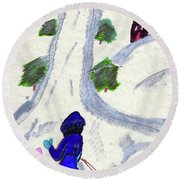 Climbing To The Top Of The Hill Round Beach Towel