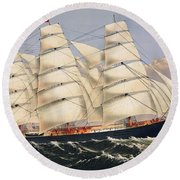 Clipper Ship Three Brothers, The Largest Sailing Ship In The World Published By Currier And Ives Round Beach Towel
