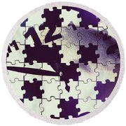 Clock Holes And Puzzle Pieces Round Beach Towel