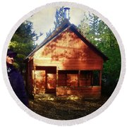 Closing The Cabin For Winter Round Beach Towel