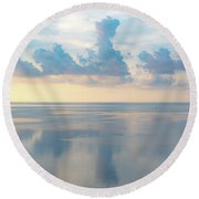 Cloud Reflections On Pamlico Sound Round Beach Towel