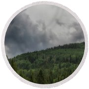 Cloud Topped Aspens Round Beach Towel