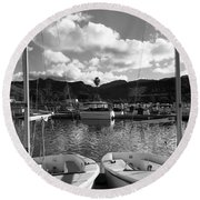 Clouds And Sailing  Round Beach Towel
