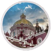 Clouds Over Puebla Cathedral Round Beach Towel