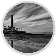 Clouds Over The Chipiona Faro Round Beach Towel