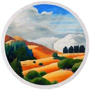 Clouds Over Windy Hill Round Beach Towel