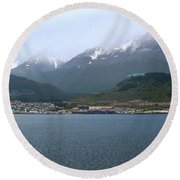 Cloudy Morning In Ushuaia, Argentina Round Beach Towel