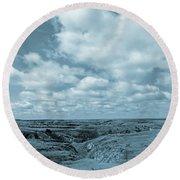 Cloudy Prairie Reverie Round Beach Towel