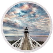 Cloudy Skies At Marshall Point Round Beach Towel