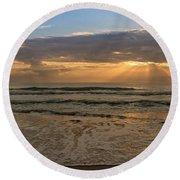 Cloudy Sunrise In The Mediterranean Round Beach Towel
