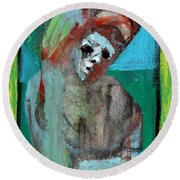Clown At A Table Round Beach Towel