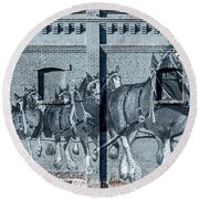 Clydesdale Mural Round Beach Towel