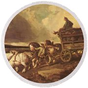 Coal Cars 1822 Round Beach Towel