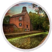 Coalport Bottle Kiln Sunset Round Beach Towel