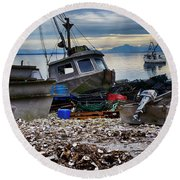 Coastal Fishing Vancouver Island Round Beach Towel