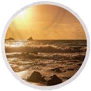 Coastal Sunrise Silhouette Round Beach Towel