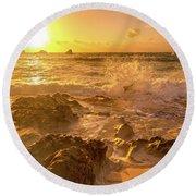 Coastal Sunrise Spectacular  Round Beach Towel