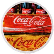 Coca Cola Crates Round Beach Towel