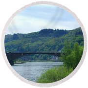 Cochem Castle And River Mosel In Germany Round Beach Towel