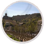 Cochem Castle And Town On Mosel In Germany Round Beach Towel