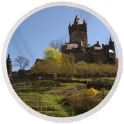 Cochem Castle And Vineyard In Germany Round Beach Towel