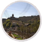 Cochem Main Street And Castle In Springtime In Germany Round Beach Towel