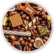 Coffee Candy Round Beach Towel