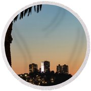 Coit Tower Twilight Round Beach Towel