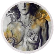 Colony Collapse Disorder - Gold - Nude Warrior Woman With Autumn Leaves Round Beach Towel