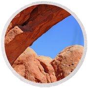 Colorado Arches, Close Up Blue Sky 3440 Round Beach Towel