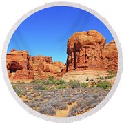 Colorado Arches Park Landscape Scrub Red Rocks Blue Sky 3335 Round Beach Towel