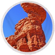 Colorado Arches Spire Scrub Dinosaur Rock? Scrub Blue Sky 3325 Round Beach Towel