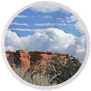 Colorado National Monument Colorado Blue Sky Red Rocks Clouds Trees Round Beach Towel