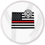 Colorado Firefighter Shield Thin Red Line Flag Round Beach Towel