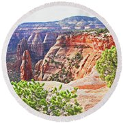 Colorado National Monument Spires Rock Formations 3012 Round Beach Towel