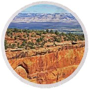 Colorado National Monument Trees Rock Formations 3087 Round Beach Towel