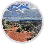 Colorado National Monument Trees Rock Formations Clouds 3001 Round Beach Towel