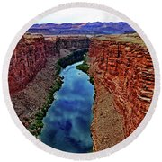 Colorado River From The Navajo Bridge 001 Round Beach Towel