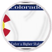 Colorado State License Plate Round Beach Towel