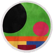 Colorful Geometric Abstract 4- Art By Linda Woods Round Beach Towel