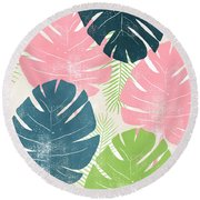 Colorful Palm Leaves 1- Art By Linda Woods Round Beach Towel