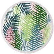 Colorful Palm Leaves 2- Art By Linda Woods Round Beach Towel