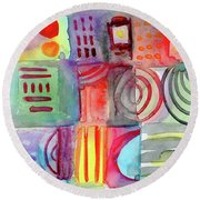 Colorful Patchwork 1- Art By Linda Woods Round Beach Towel