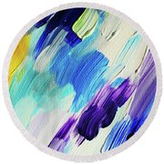Colorful Rain Fragment 1. Abstract Painting Round Beach Towel