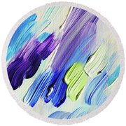 Colorful Rain Fragment 2. Abstract Painting Round Beach Towel