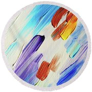 Colorful Rain Fragment 3. Abstract Painting Round Beach Towel